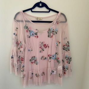 Democracy Pink Embroidered Mesh Overlay Top